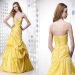 Quality Yellow Sweetheart Ruffled and Beaded Taffeta Lady Dress (AL20042) for sale