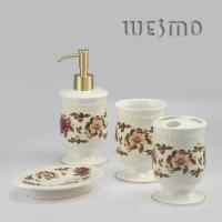 Quality 4 Pcs Flowers Printed Decorative Full Ceramic Bathroom Fixtures for sale