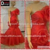 Real sample red Organza Strapless Long Cheap Evening Dresses UK wth flower