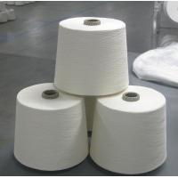 Quality Knotless Dope Polyester Raw White Yarn , Bleach White Staple Spun Polyester for sale