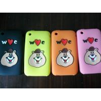 China Protective IPhone Silicone Cases Washable Pink / Green With Bear Pattern on sale