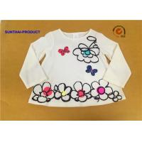 Quality Big Floral Print Children T Shirt Butterfly Applique Embroidery Long Sleeve 100% Cotton for sale