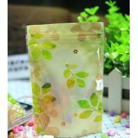 Recycled 80 Micron Leaf Plastic Zipper Bags Resealable For Promotional
