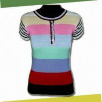 China Women's Blouse with Round Neck Short Sleeves, Made of 70% Silk and 30% Cotton on sale