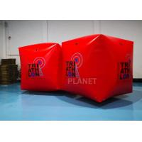 China Red PVC Tarpaulin 1.5M Inflatable Water Floating Buoy  Cube / Square Shape With Logo on sale