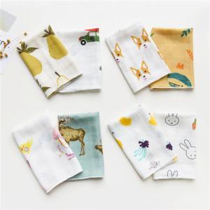 Quality Cute Animal Pattern Baby Muslin Handkerchief Cloth Custom Printing for sale