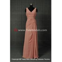 China NEW!! V neck sheath Bridesmaid dress with Lace up back Backless evening gown #AS1152 on sale