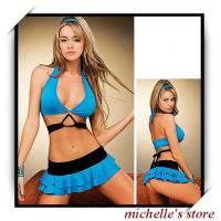 Quality OEM Sports Spandex / Nylon Blue String Skirted Beach Shorts Bikini Sets for sale