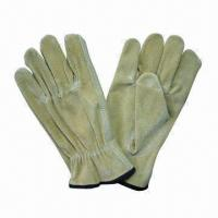Quality Split pig leather working gloves, protects hands during heavy work for sale