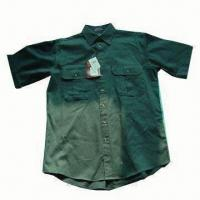 Quality Men's Short-sleeve Dyed Casual Shirt, Available in Various Colors for sale