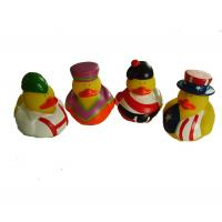 China Phthalate Free Vinyl Small Yellow Rubber Ducks With Nation Flag Pattern on sale