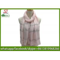 Quality China supplier stripe silver shawl gilding spring summer pink scarf 70*180cm 20%Cotton 80%Polyester keep warm for sale