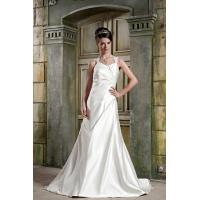 Quality Simple Strap V Neckline A-line Satin A Line Wedding Dress Gown Bridal Dress With Lace for sale