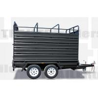 Quality 8x5 / 12x6 Stock Crate Flat Top Tandem Box Trailer With 4 Ways Rear Gate for sale