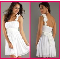 Quality One Shoulder Homecoming Dress Short White Chiffon Sashes Cocktail Gowns for sale