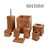 Quality Classic Rome Pillar Shape Natural Bamboo Bathroom Sets and Accessories for sale