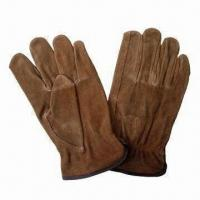 Quality Brown split cow leather driving gloves  for sale