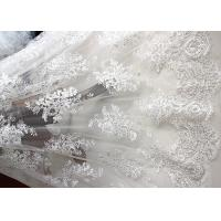 Quality Luxury Ivory Embroidery Cord Sequin Lace Fabric / French Bridal Sequin Mesh Fabric for sale