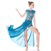 Quality Stretchy Mesh Sleeveless Maxi Dress Lyrical Dance Costumes For Competition for sale
