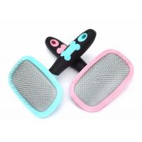 Quality Pink Bule Pet Hair Comb , Stainless Steel Teeth TPR Handle Dog Brush Comb for sale