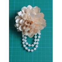 Quality Corsage in White Flower , Pearl Fabric Flower Corsages with Chiffon Artificial for sale