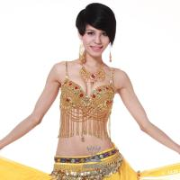 Quality Beaded Yellow Belly Dancing Bra Tops With Jewels / Tassel For Dancing Performance for sale