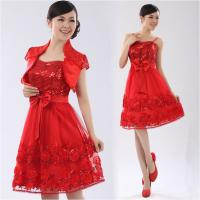 Chiffon Strap Long Sleeve ladies dress suits for weddings , Red