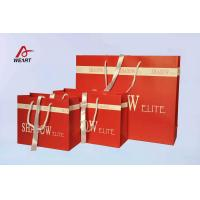 Quality Red Art Paper Bags / Colored Paper Gift Bags Middle Hole Glued White Ribbon​ for sale