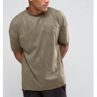 Quality New Style Side Split Oversized Crew Neck T Shirt , Embroidery Suede T Shirt Mens for sale