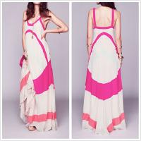 China Fashion clothing girls narrow strap maxi dress with color panels on sale