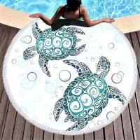 Quality Turtle Round Microfiber Beach Towel With Tassels For Summer Octopus 150cm Swimming Bath Towels for sale