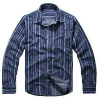 Quality Classical Blue Vertical Stripes Cotton Shirts (LC-666) for sale