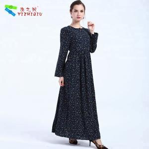 China Black Cotton Ladies Long Sleeve Dresses Boho Autumn Dress Ankle - Length on sale