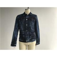 Quality Dark Mottled Wash Mens Denim Jacket And Jeans / Denim Jean Jacket TW76378 for sale