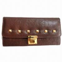 Quality Evening Clutch Bag in Brown Color, with Gold Plating Metal Parts for sale
