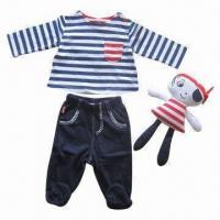 Quality Babies' Clothing Set, 3-piece Babies' Hat + Top + Pant with Feet, Made of 100% Cotton Interlock for sale
