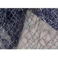 Quality Embroidery Royal Blue Sequin Lace Fabric For Wedding Dress Evening Gown for sale
