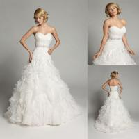 China A line Beaded Organza Sweetheart Wedding Dresses Strapless Ball Gowns on sale