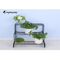 Quality Removable Three Layer Flower Pot Storage Rack Wrought Iron Green Space Style for sale