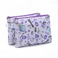 Leisure Flower Printed Nylon Makeup Bag Double Side Lamination For Toiletries