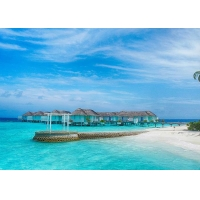 Belize / Maldives Overwater Bungalow With Light Steel , Over The Water Bungalows