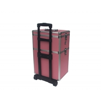 Quality Pink Aluminum Makeup Trolley Case Rolling Alu Cosmetic Case with Two Layer for sale