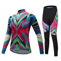China Outdoor Fashion Riding Wear Female Jersey Design Custom Cycling Clothing Suits Colorful Long-sleeved Shirts And Shorts on sale