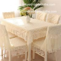 Quality Luxury embroidered lace tablecloth and chair cover, embroider lace table linens, for sale