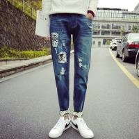 Buy Printed Flowers Womens Slim Straight Leg Jeans Middle Rise Stone Washed at wholesale prices