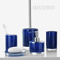Quality Simple Design Crystal Look And Fresh Color Blue Polyresin Bathroom Set (WBP0345B) for sale