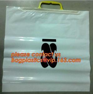 Quality Heavy Duty Customized Printing Rigid Snap Handle Hard Plastic Bag,LDPE Rigid Handle Personal Belonging Bag bagplastics for sale