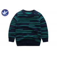 Quality Irregular Stripes Boys Knit Pullover Sweater Crew Neck Double Layer Warm for sale