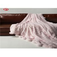 China Rabbit Faux Animal Fur Blanket Throw Pink Warm Cozy Cover With Pompoms Fringe Solid on sale