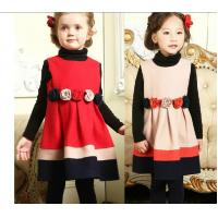 China Cotton Childrens Clothes , Winter Long Sleeve Girls One Piece Dress on sale